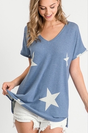 First Love Star Print Vee Neck - Product Mini Image