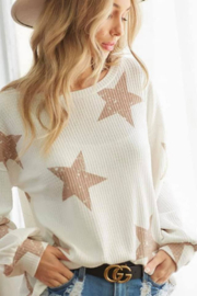 Bibi Star Printed Brushed Waffle Pullover Top - Product Mini Image