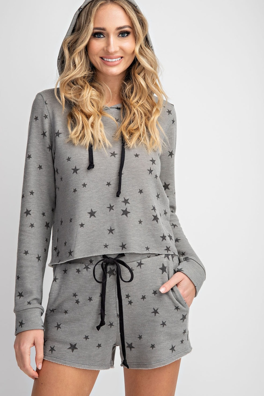 143 Story Star Printed Cropped Lounge Top - Front Full Image