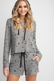 143 Story Star Printed Cropped Lounge Top - Front full body