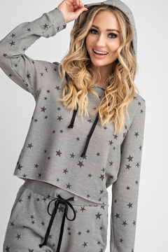143 Story Star Printed Cropped Lounge Top - Product List Image