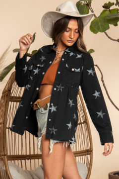 Blue Buttercup Star Printed Flare Jacket - Product List Image