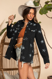 Blue Buttercup Star Printed Flare Jacket - Product Mini Image