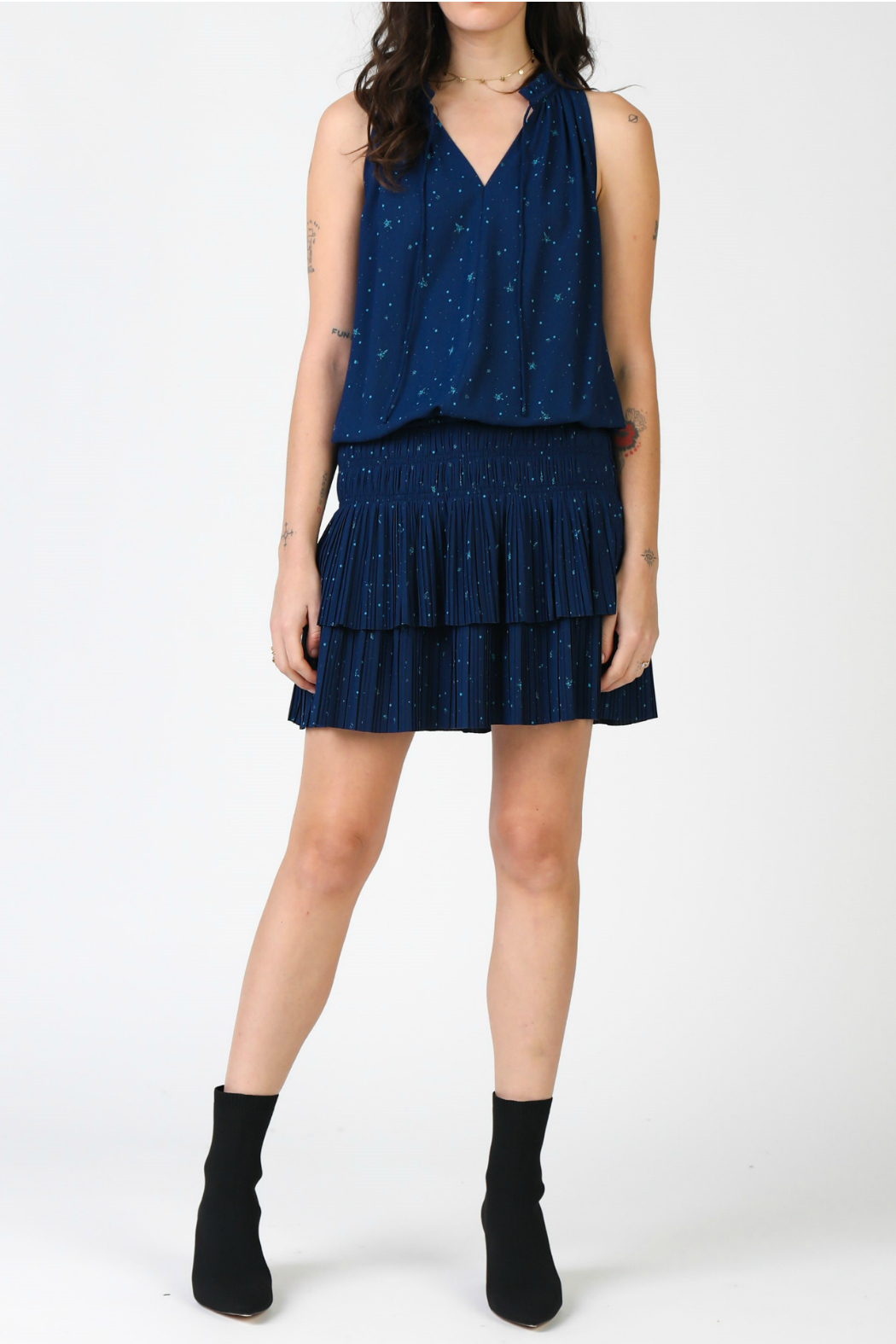 Current Air Star printed mini dress with pleated skirt - Main Image