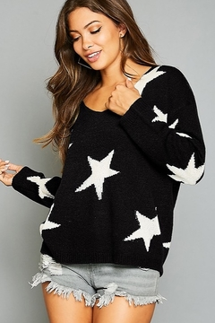 Peach Love California Star Printed V Neck Sweater - Alternate List Image