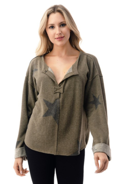 Shoptiques Product: Star Pullover w Notch Neck & Bell Sleeves