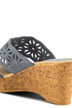 Spring Step  Star-shaped printed laser-cut leather slide sandal with a cork-inspired textured wedge. - Alternate List Image