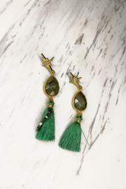 Rush by Denis & Charles Star & Stone & Tassel Earring - Front cropped