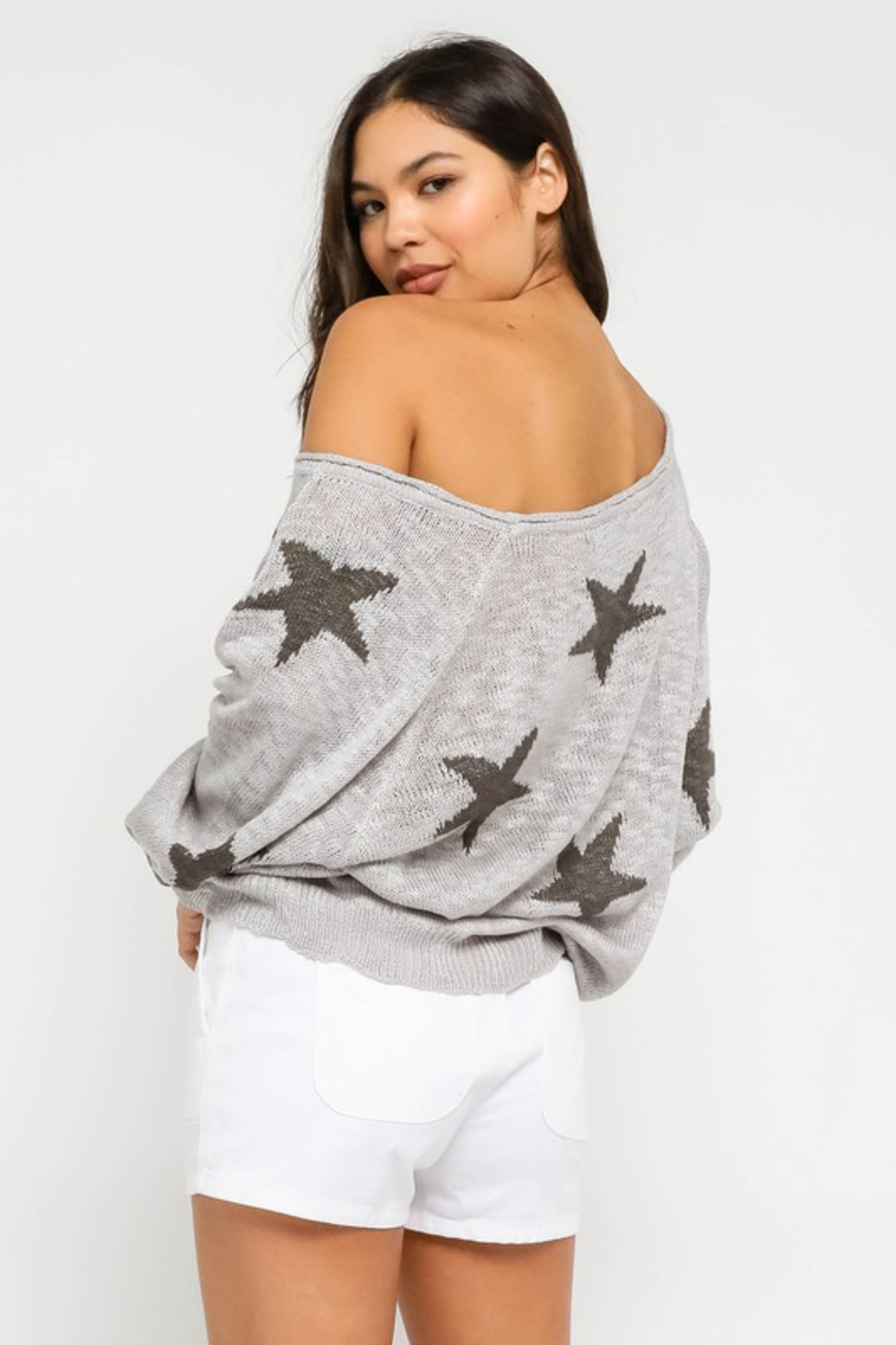 Olivaceous  Star Sweater - Side Cropped Image