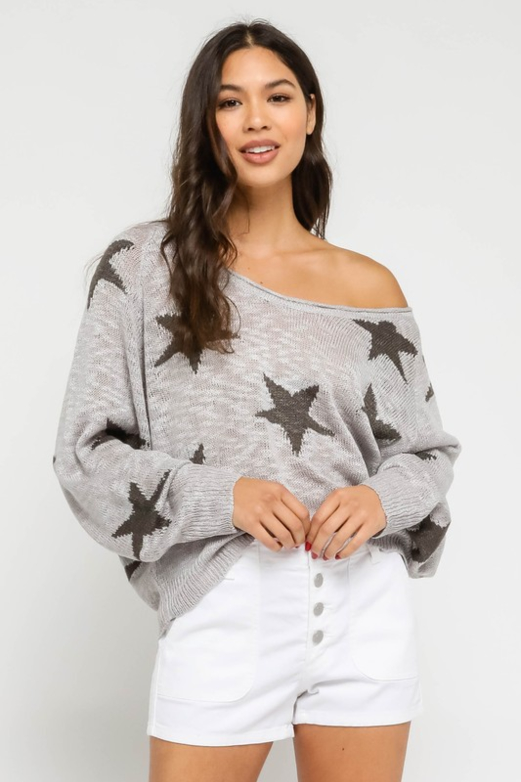 Olivaceous  Star Sweater - Main Image
