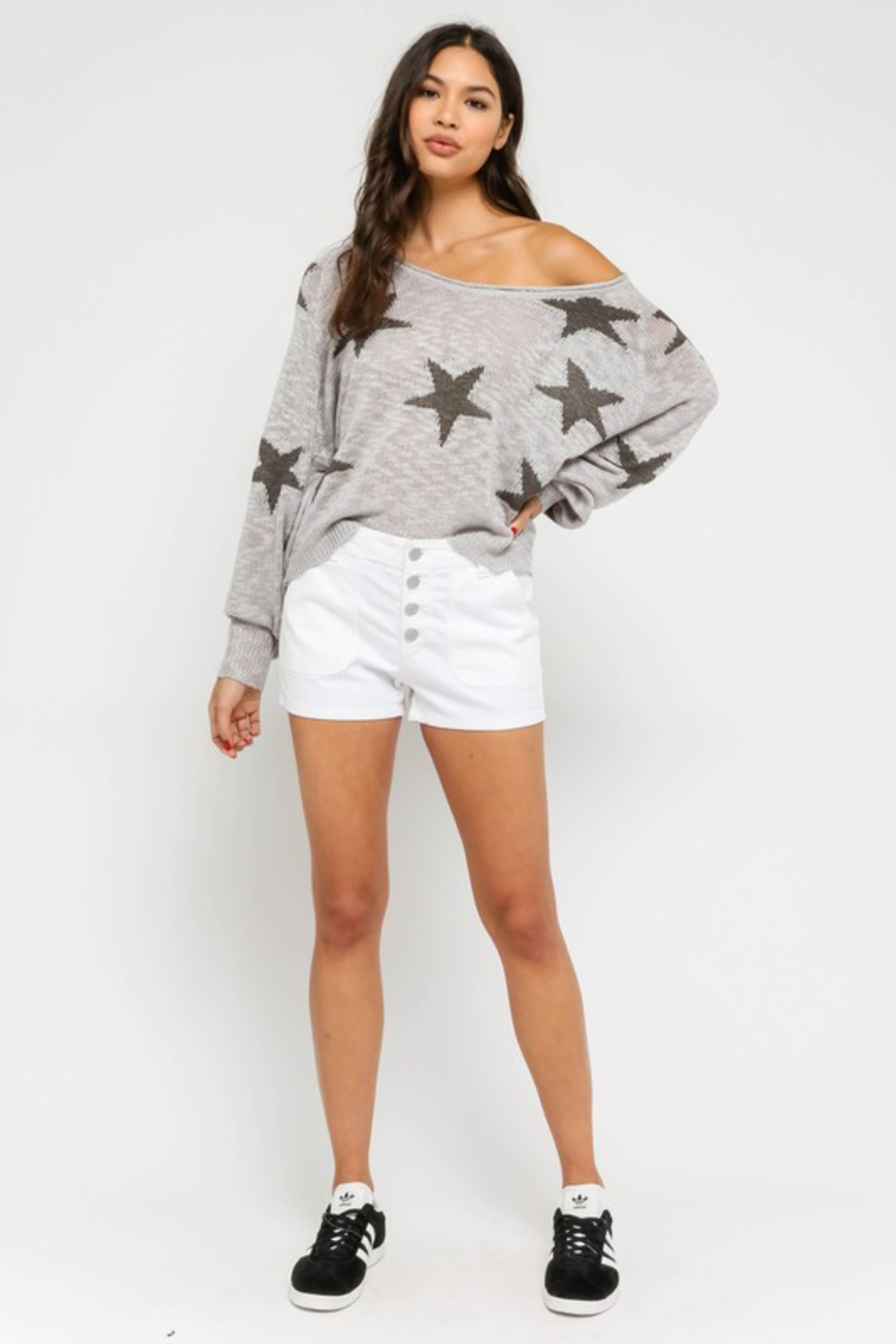 Olivaceous  Star Sweater - Back Cropped Image