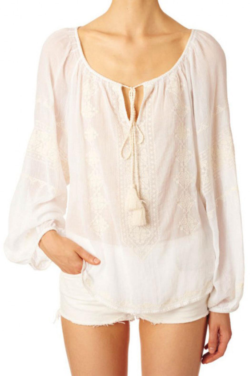 Star Mela Ecru Embroided Top - Front Cropped Image