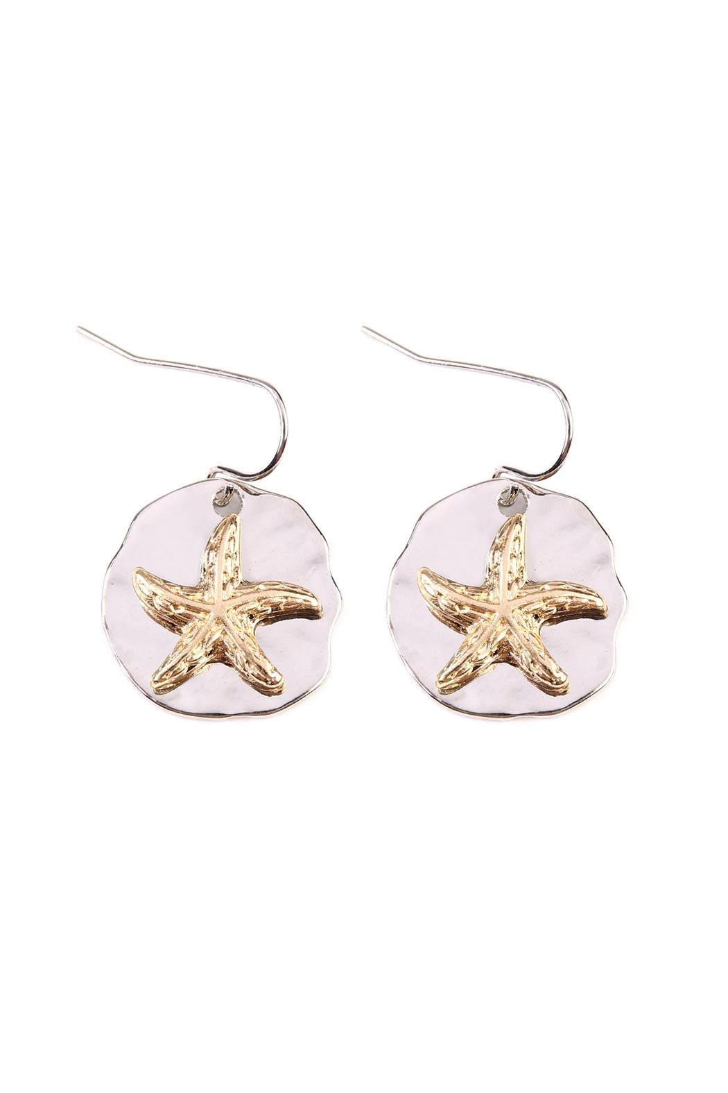 Riah Fashion Starfish Plate Drop-Earrings - Front Cropped Image