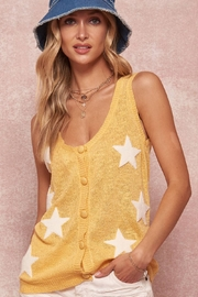 Promesa USA Stars Applique Knit Button-Front Tank Top Sweater - Product Mini Image
