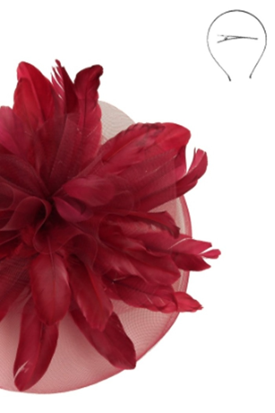 KIMBALS STATEMENT FEATHERED VEIL FASCINATOR - Crimson - Front Full Image