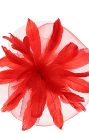 KIMBALS STATEMENT FEATHERED VEIL FASCINATOR - Red - Product Mini Image