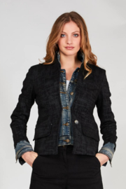 Baci Static Print Knit & Denim Blazer - Front cropped