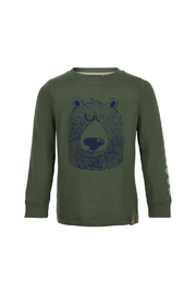 Minymo Stay Cool Bear T-Shirt - Olive Thyme - Product Mini Image