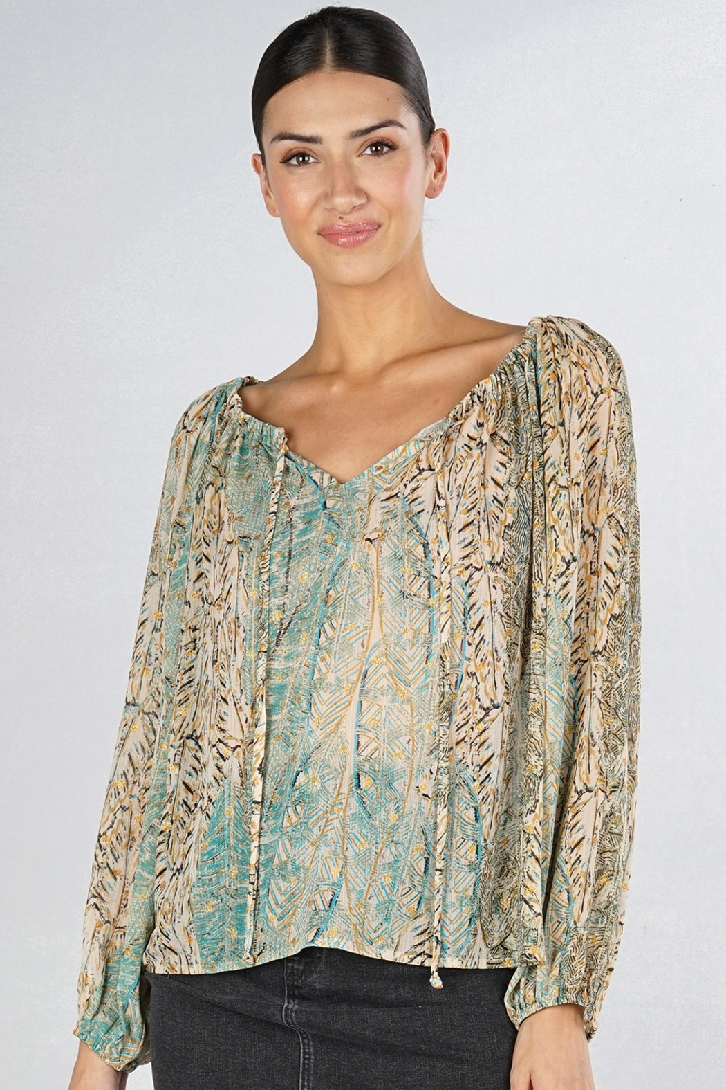 Lovestitch Stay Golden Blouse - Side Cropped Image