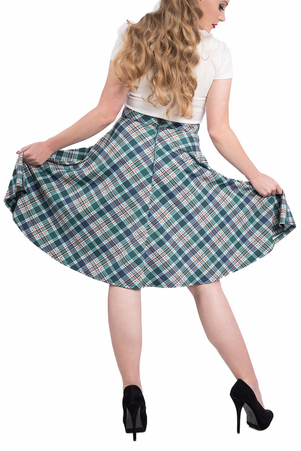 Steady Clothing Plaid Circle Skirt - Front Full Image