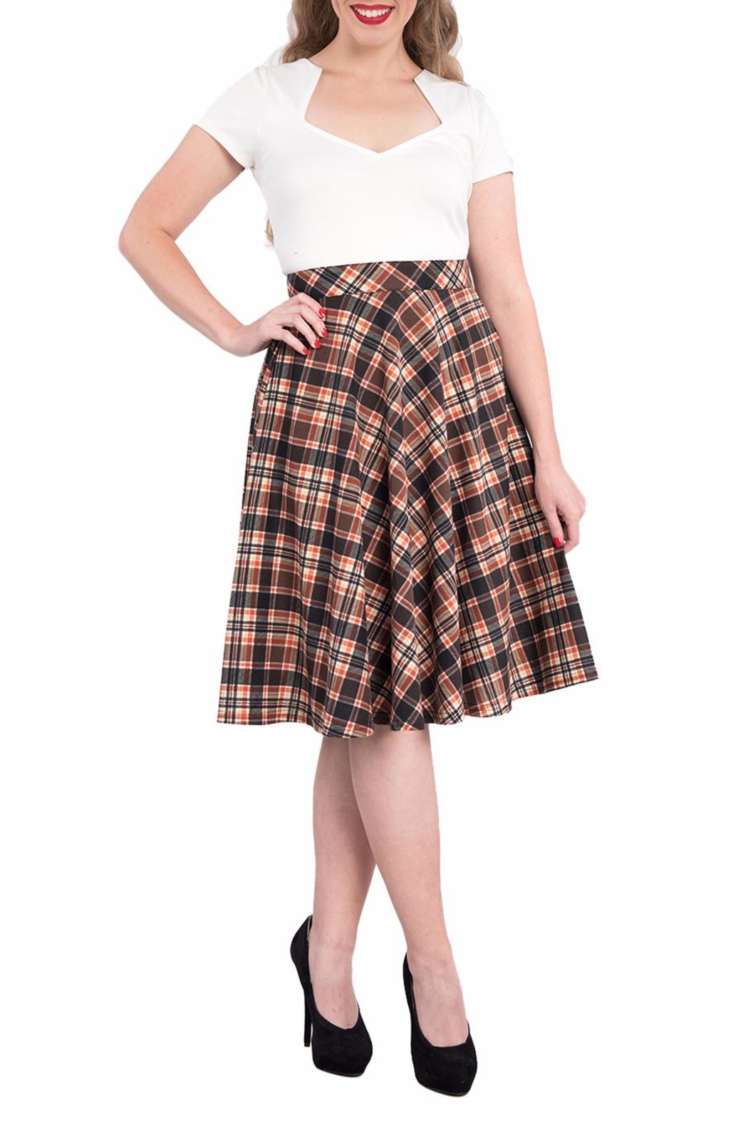Steady Clothing Plaid Circle Skirt - Front Cropped Image
