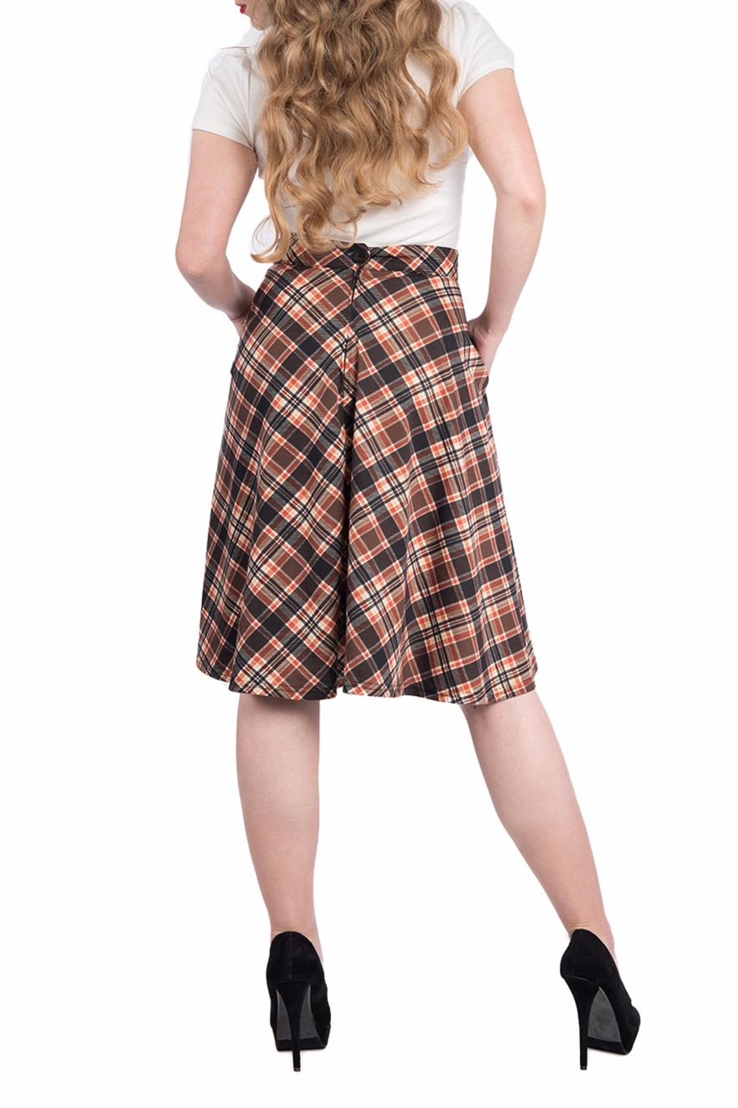 Steady Clothing Plaid Circle Skirt - Side Cropped Image