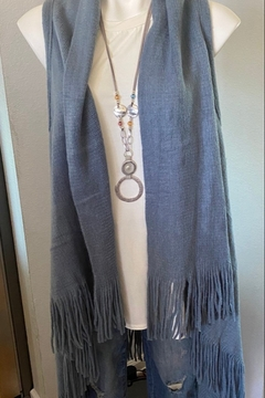 Back in Love Steel Blue fringed sweater vest - Product List Image