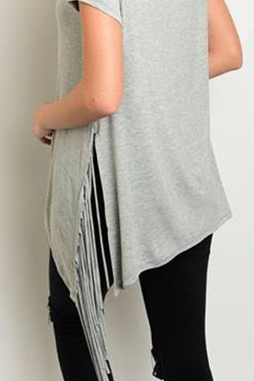 Steezyer Grey Fringe Tunic - Side Cropped Image