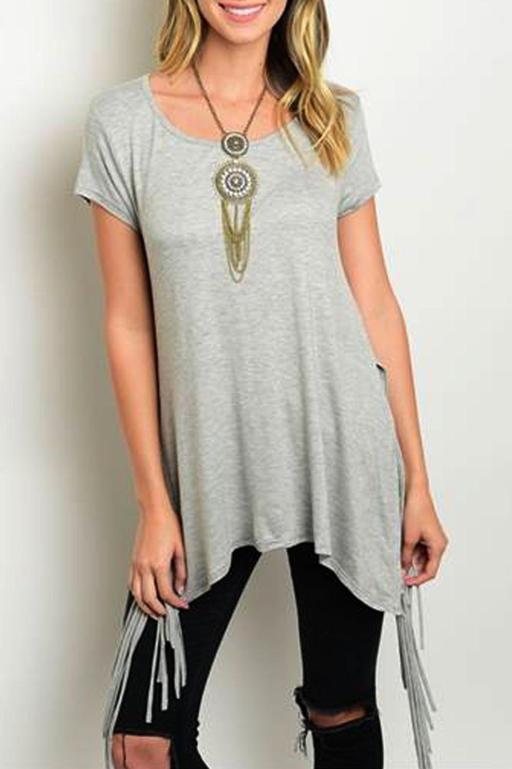 Steezyer Grey Fringe Tunic - Main Image