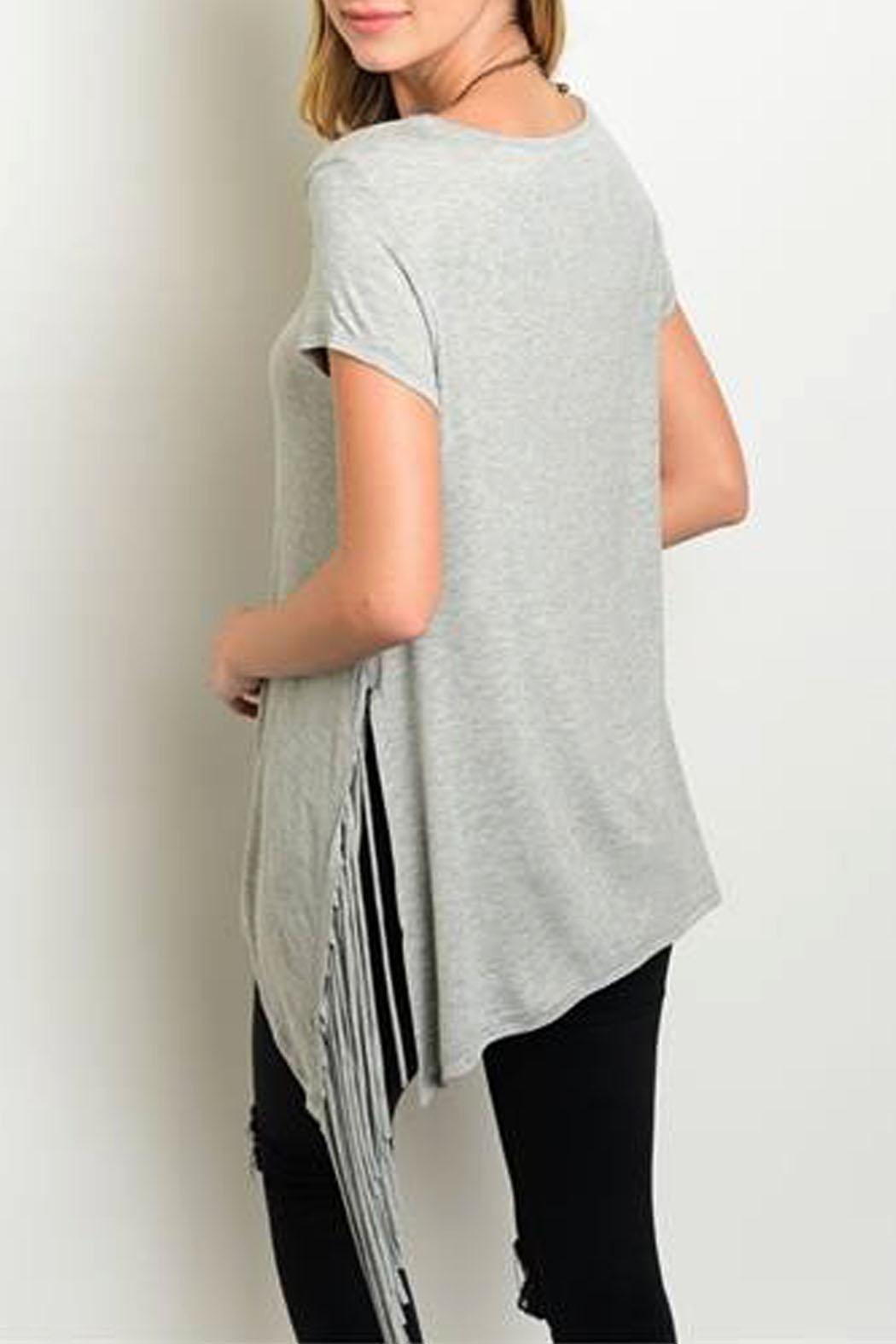 Steezyer Grey Fringe Tunic - Front Full Image