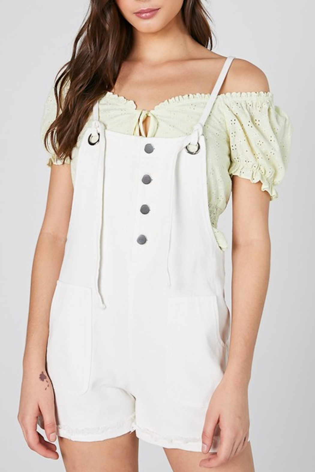 blue blush Steinfeld Eyelet Overall - Front Cropped Image