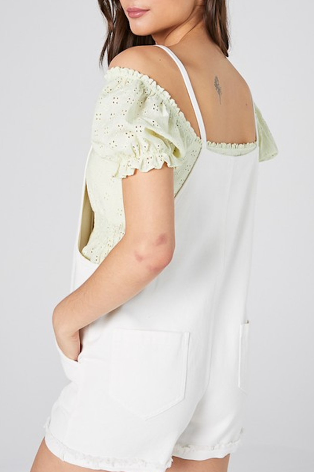 blue blush Steinfeld Eyelet Overall - Side Cropped Image