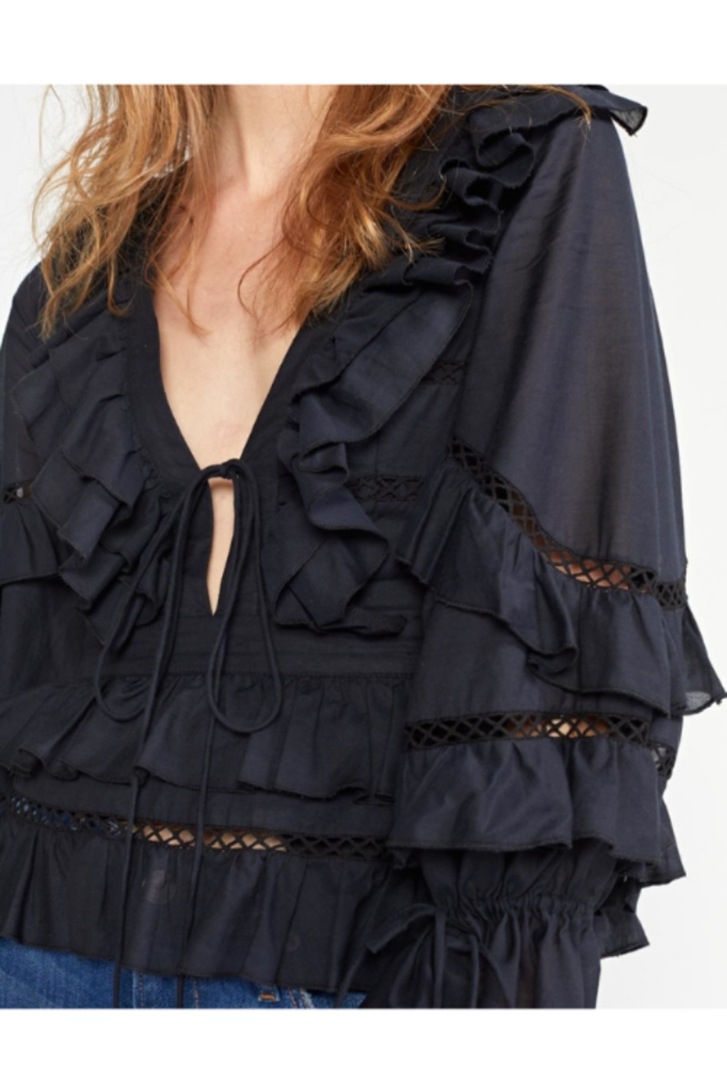 Cynthia Rowley Stella Tie Front Tiered Blouse - Side Cropped Image