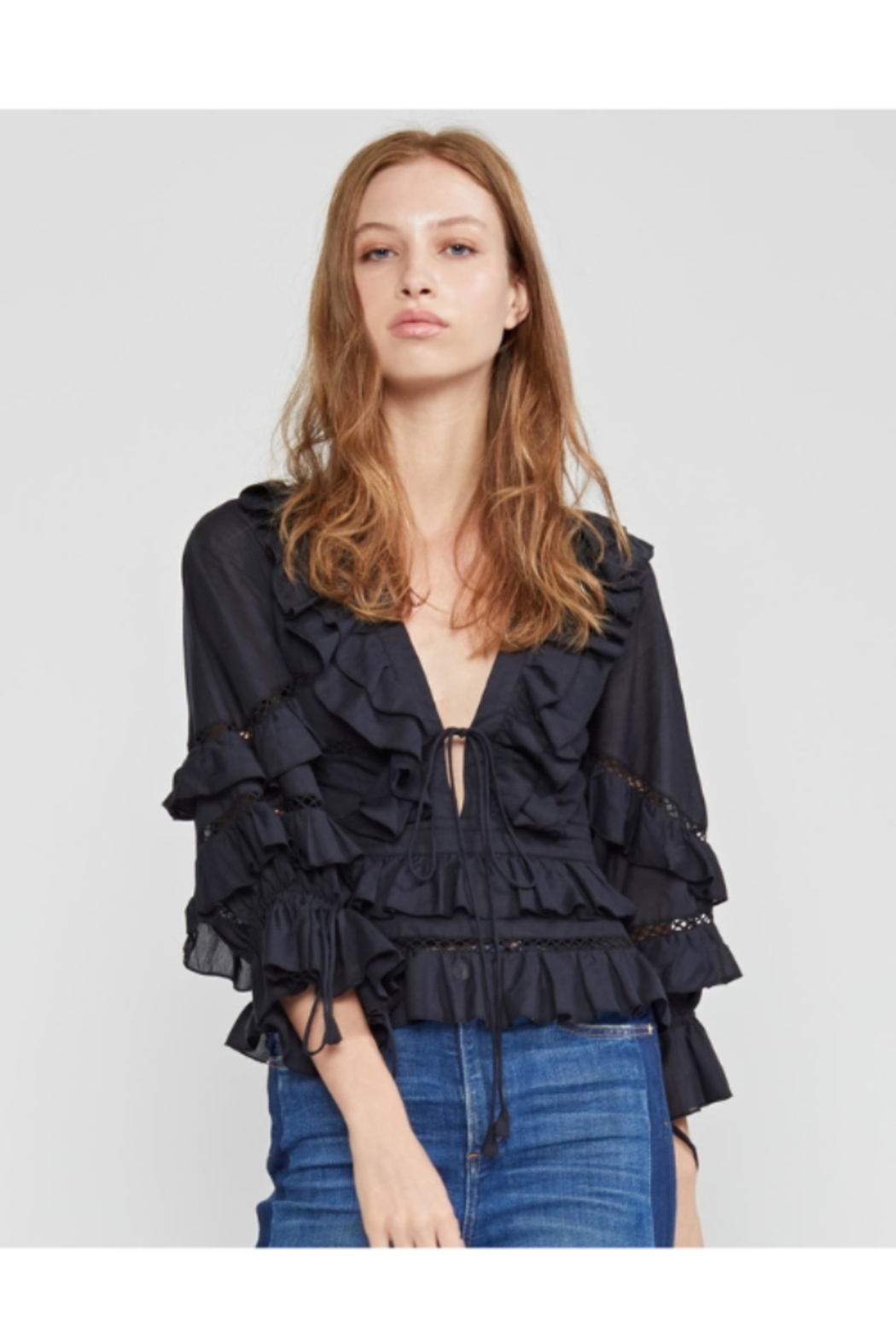 Cynthia Rowley Stella Tie Front Tiered Blouse - Front Full Image