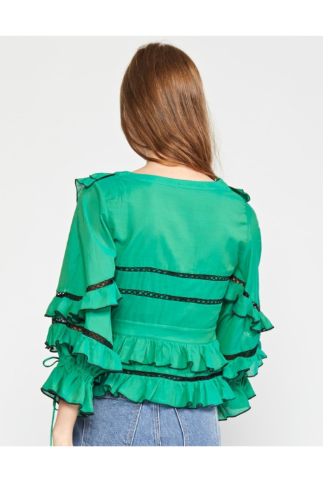 Cynthia James Stella Tie Front Tiered Blouse - Back Cropped Image