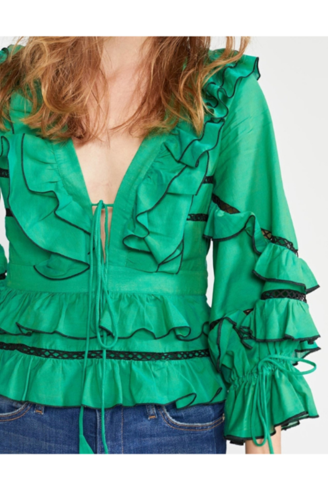 Cynthia James Stella Tie Front Tiered Blouse - Side Cropped Image