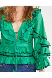 Cynthia James Stella Tie Front Tiered Blouse - Side cropped