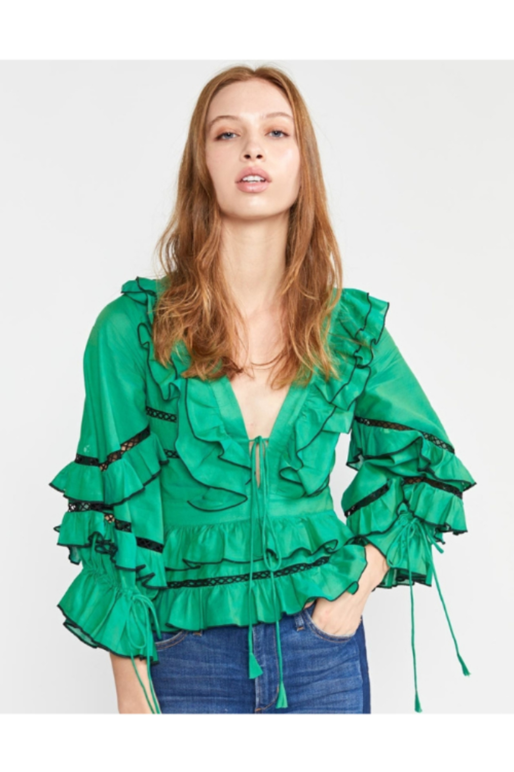 Cynthia James Stella Tie Front Tiered Blouse - Main Image
