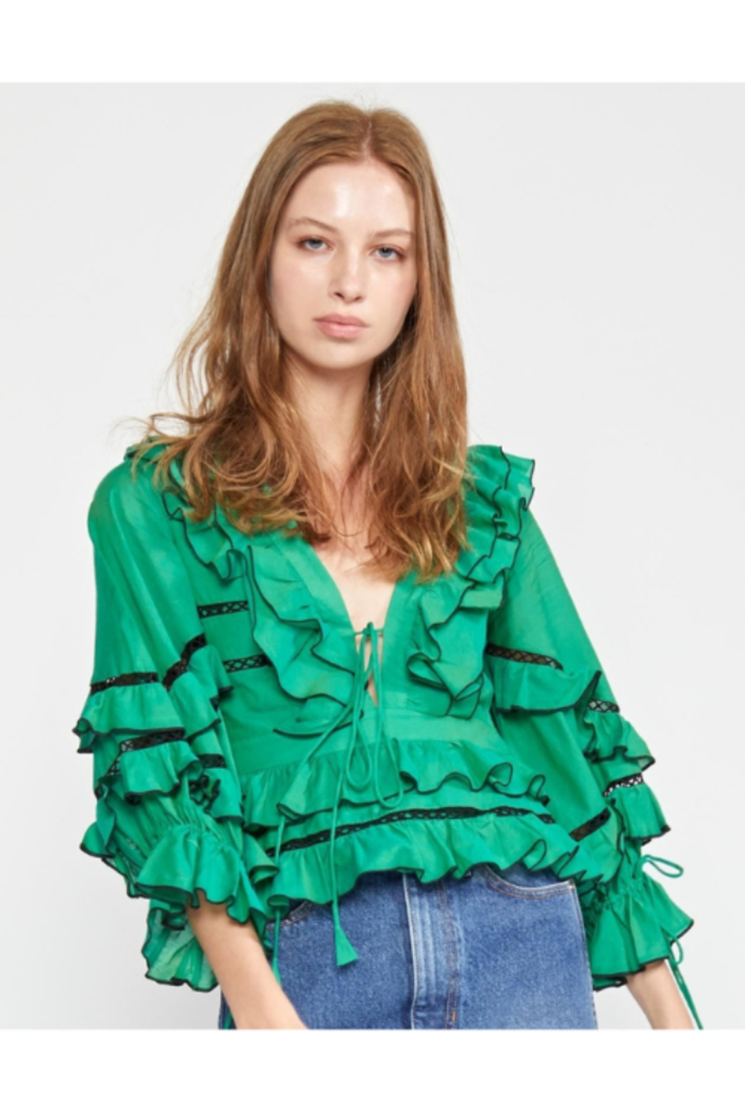 Cynthia James Stella Tie Front Tiered Blouse - Front Full Image