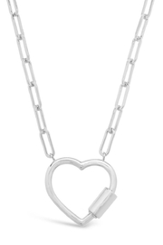 Sterling Polished Heart Carabiner Necklace - Product Mini Image