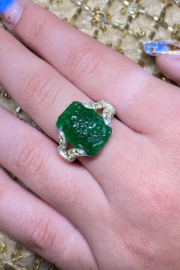 ... Sterling Silver Carved Green Onyx Ring - Product Mini Image