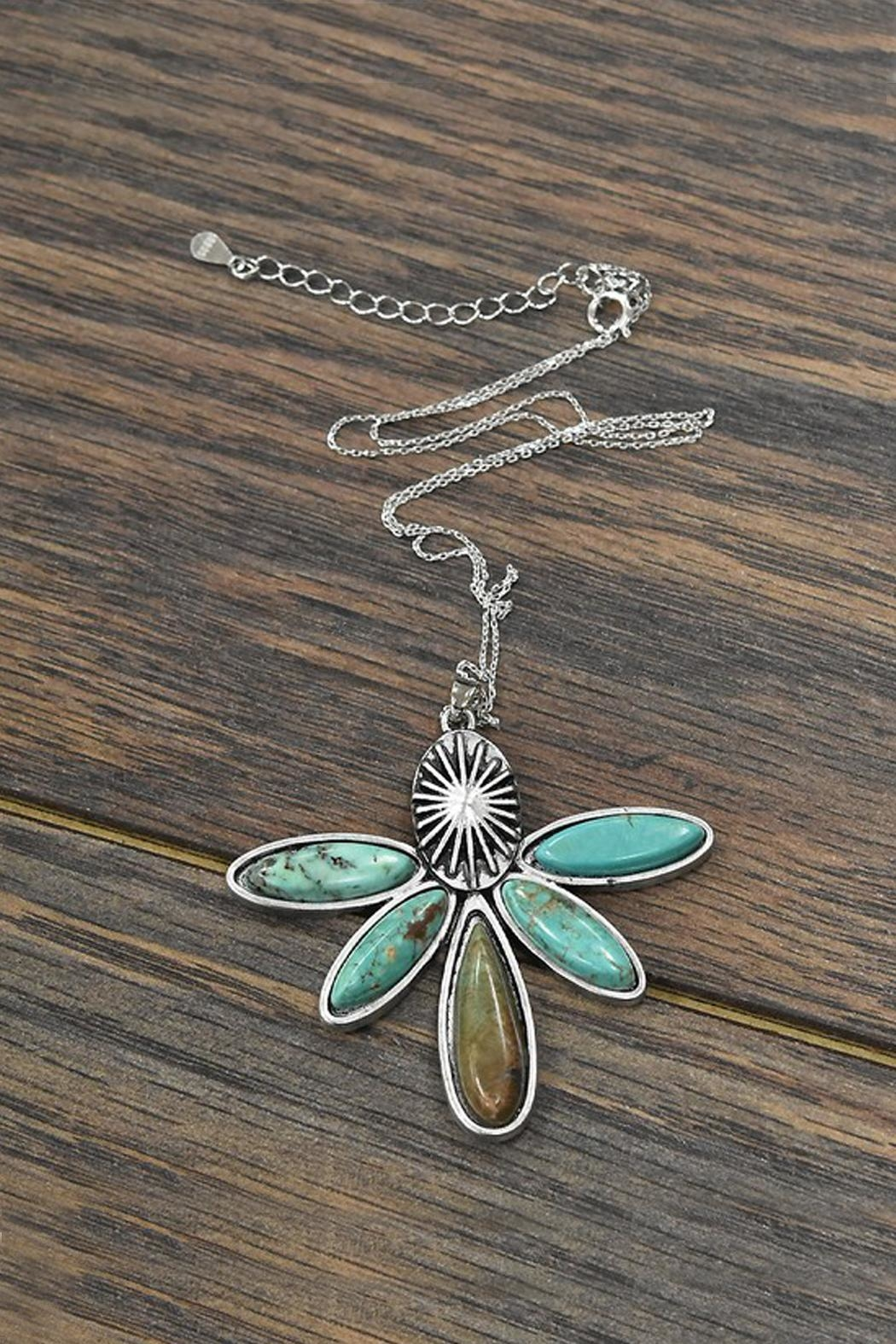 JChronicles Sterling-Silver-Chain Natural-Turquoise Pendant-Necklace - Main Image