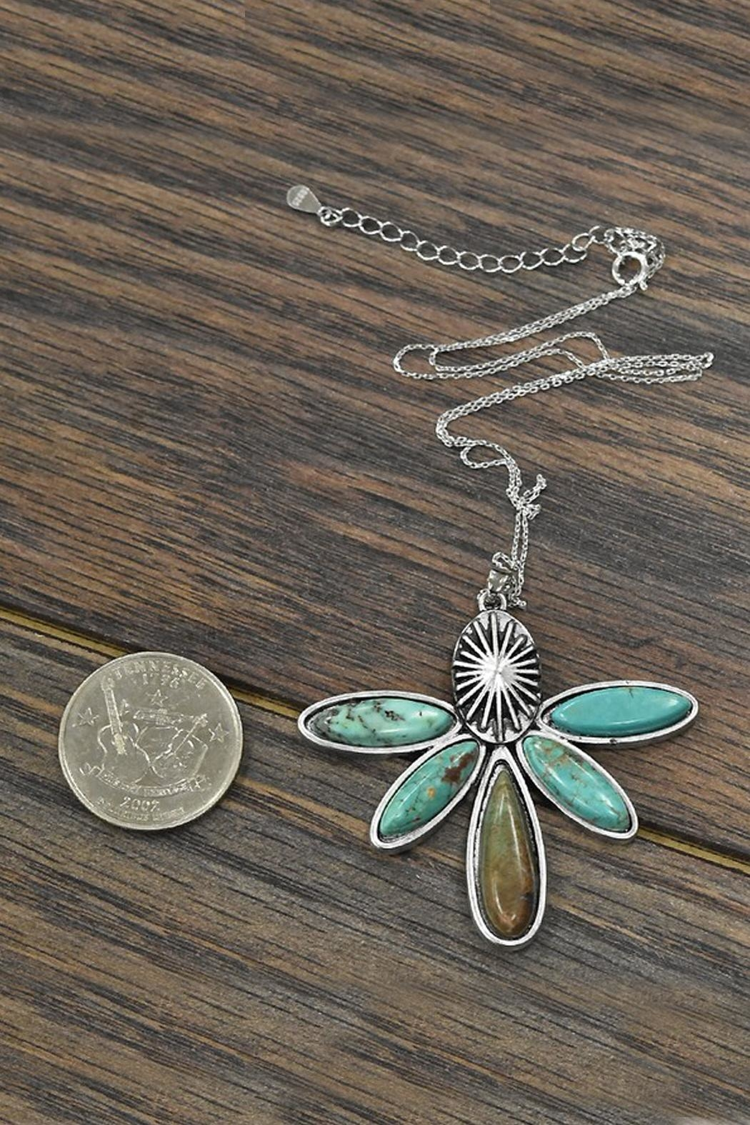 JChronicles Sterling-Silver-Chain Natural-Turquoise Pendant-Necklace - Side Cropped Image