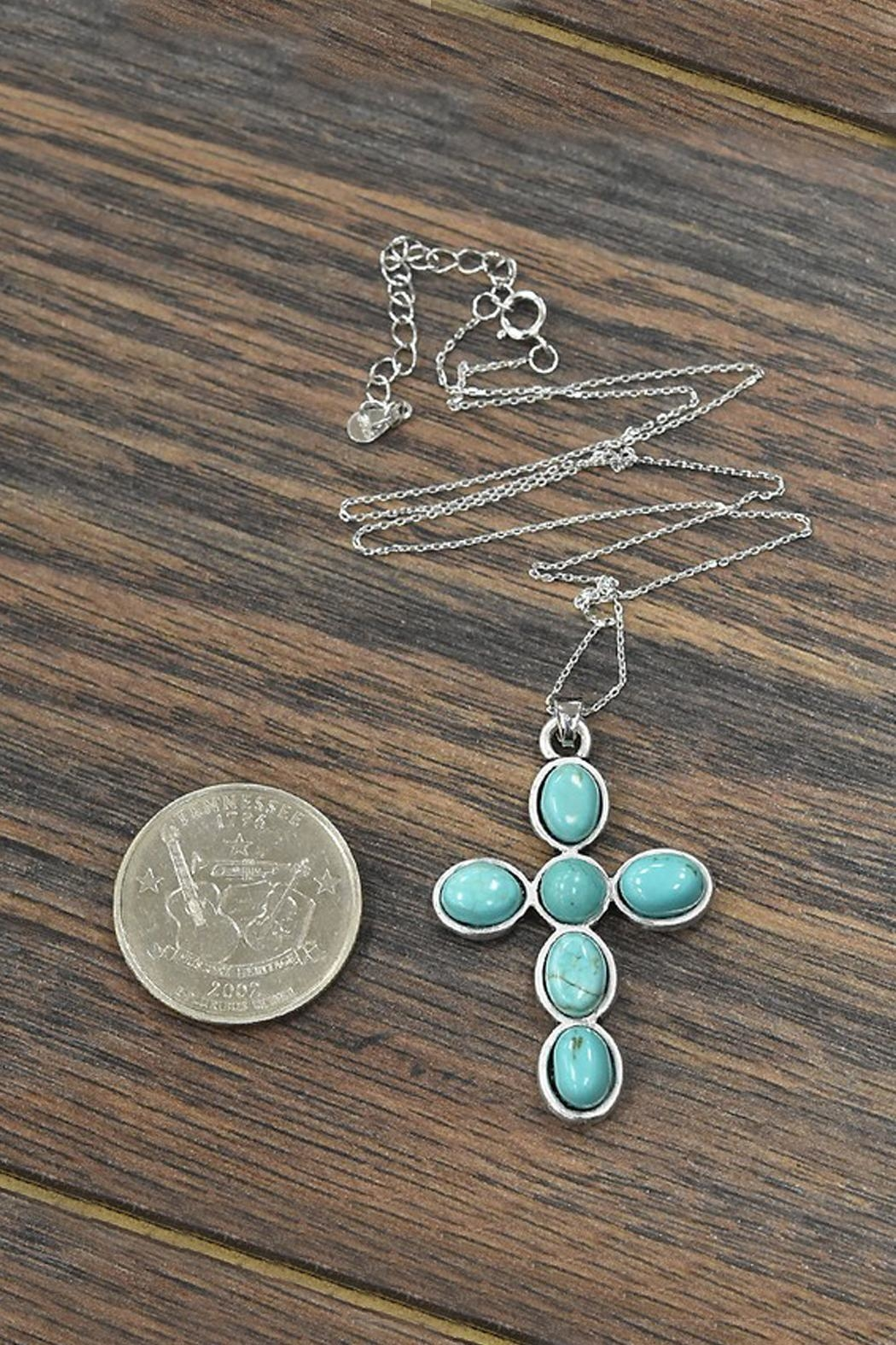 JChronicles Sterling-Silver-Chain-Necklace With Cross-Natural-Turquoise-Pendant - Side Cropped Image
