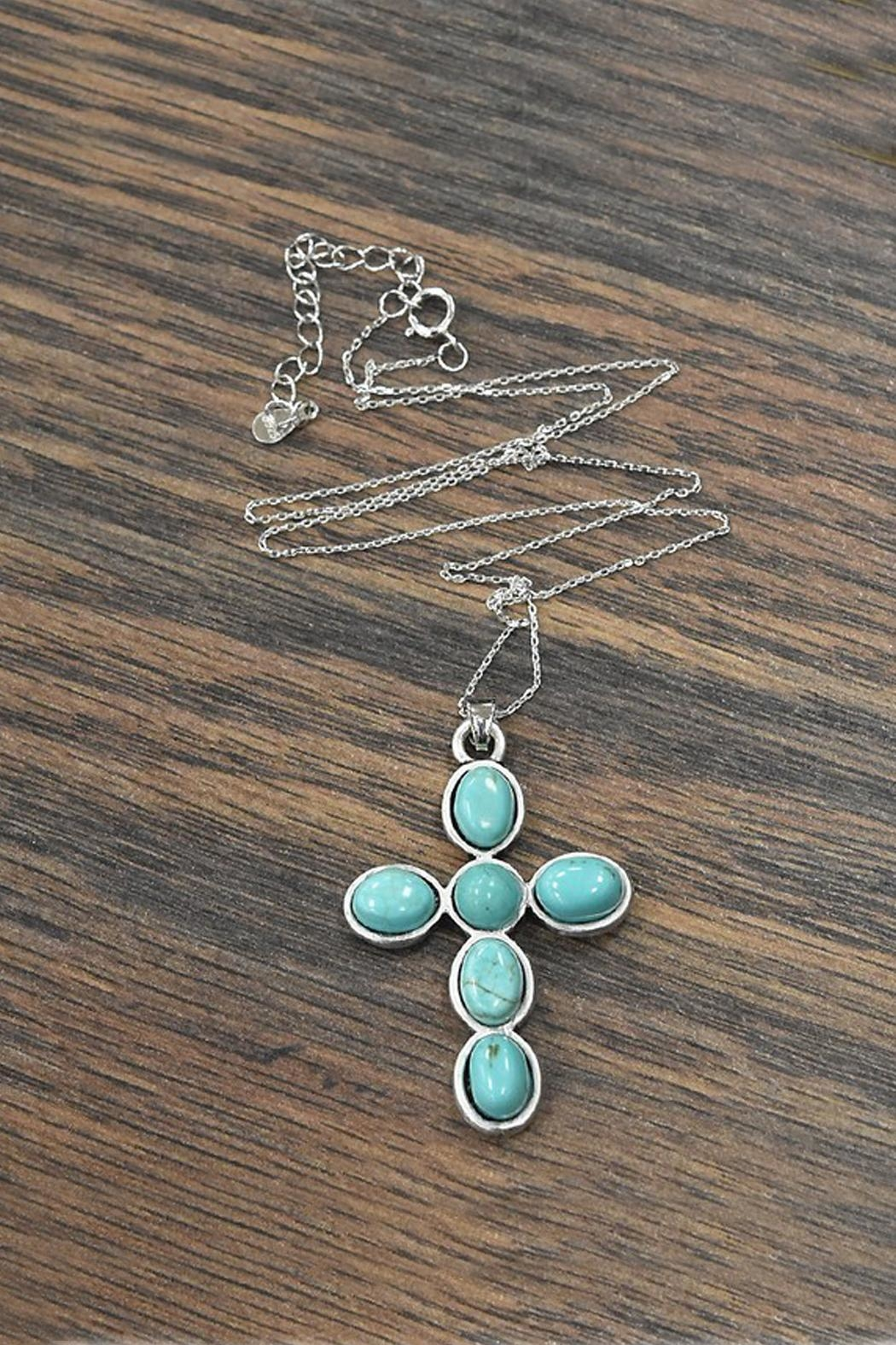 JChronicles Sterling-Silver-Chain-Necklace With Cross-Natural-Turquoise-Pendant - Main Image