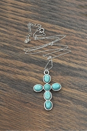 JChronicles Sterling-Silver-Chain-Necklace With Cross-Natural-Turquoise-Pendant - Front cropped