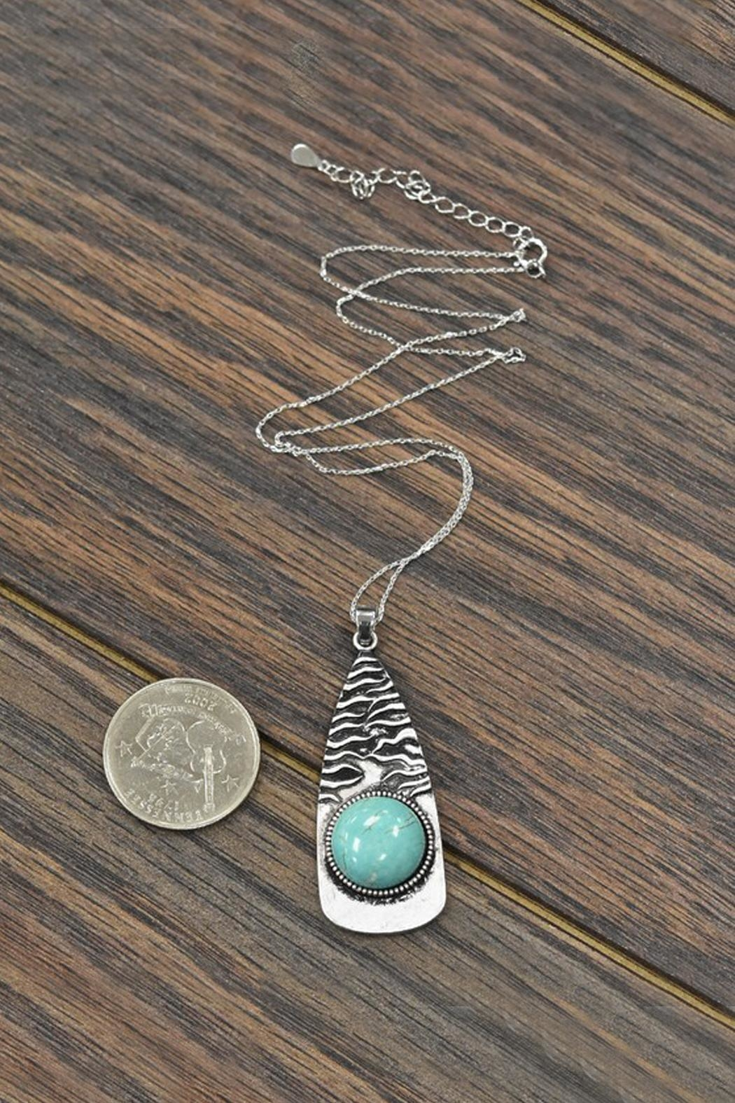 JChronicles Sterling-Silver-Chain-Necklace With Natural-Turquoise-Pendant - Side Cropped Image