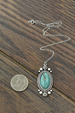 JChronicles Sterling-Silver-Chain-Necklace With Natural-Turquoise-Pendant - Alternate List Image