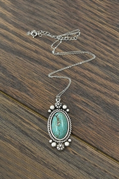 Shoptiques Product: Sterling-Silver-Chain-Necklace With Natural-Turquoise-Pendant