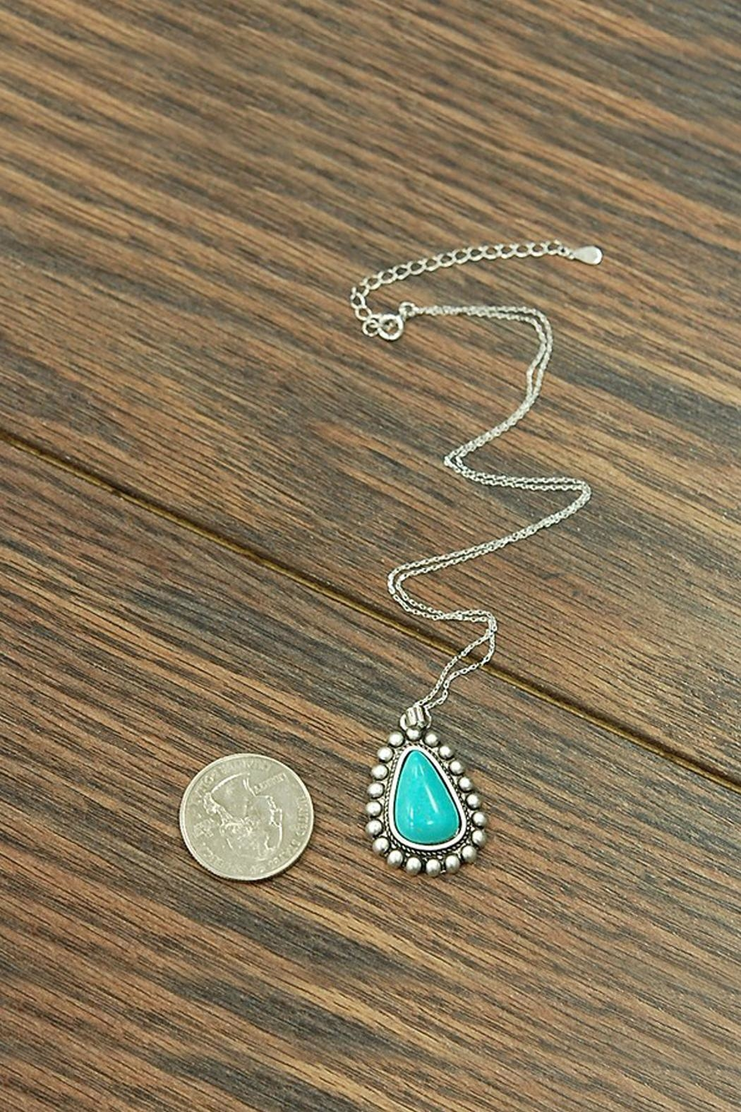 JChronicles Sterling-Silver-Chain-Necklace With Natural-Turquoise-Pendant - Front Full Image